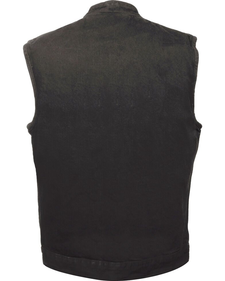 Milwaukee Leather Men's Snap Front Denim Club Style Vest w/ Gun Pocket - Big - 5X, , hi-res