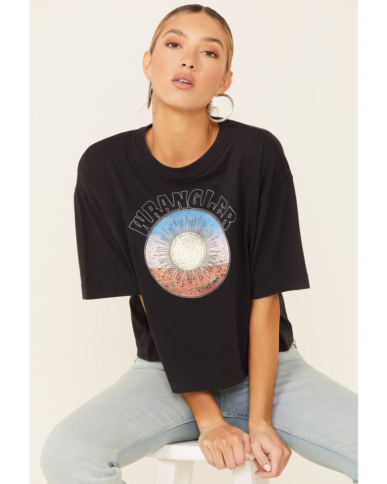 Wrangler Modern Women's Black Desert Sun Graphic Short Sleeve Oversized Crop Tee , Black, hi-res
