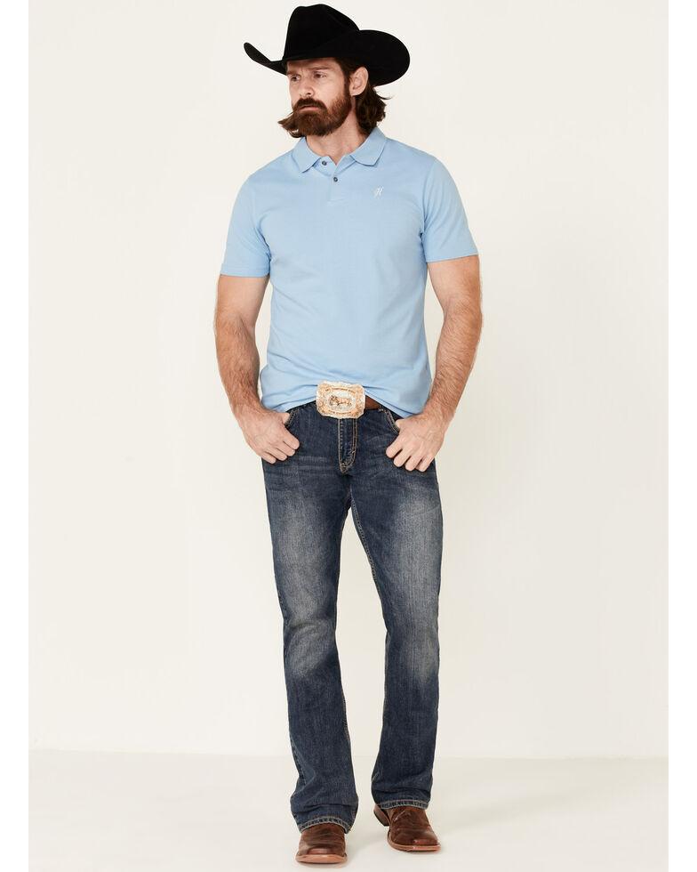 HOOey Men's Solid Light Blue The Maverick Short Sleeve Polo Shirt , Grey, hi-res