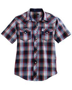 Tin Haul Men's Bluestone Plaid Short Sleeve Western Shirt , Blue, hi-res