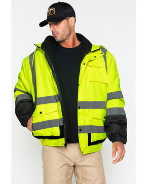 Hawx® Men's Visibility Bomber Work Jacket , Yellow, hi-res