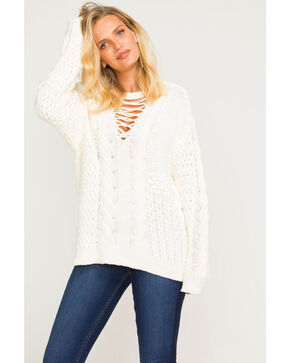 Idyllwind Women's Lace-Up Knit Fireside Sweater, Ivory, hi-res