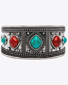 Shyanne Women's Summer Escape Wide Multi Aztec Cuff Bracelet , Silver, hi-res