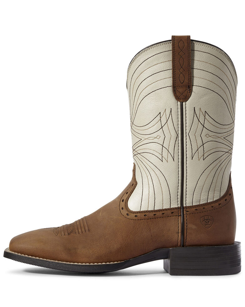 Ariat Men's Sport Western Boots - Wide Square Toe, Brown, hi-res