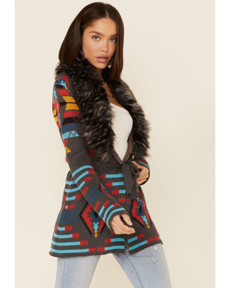 Powder River Outfitters Women's Jacquard Faux Fur Cardigan , Grey, hi-res