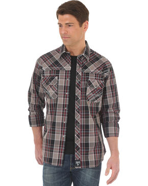 Wrangler Rock 47 Men's Plaid Embroidered Long Sleeve Snap Shirt, Black, hi-res