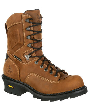 Georgia Boot Men's Waterproof Logger Work Boots - Round Toe, Brown, hi-res