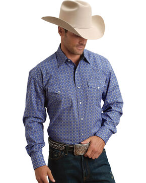 Stetson Men's Tile Foulard Long Sleeve Western Snap Shirt, Blue, hi-res