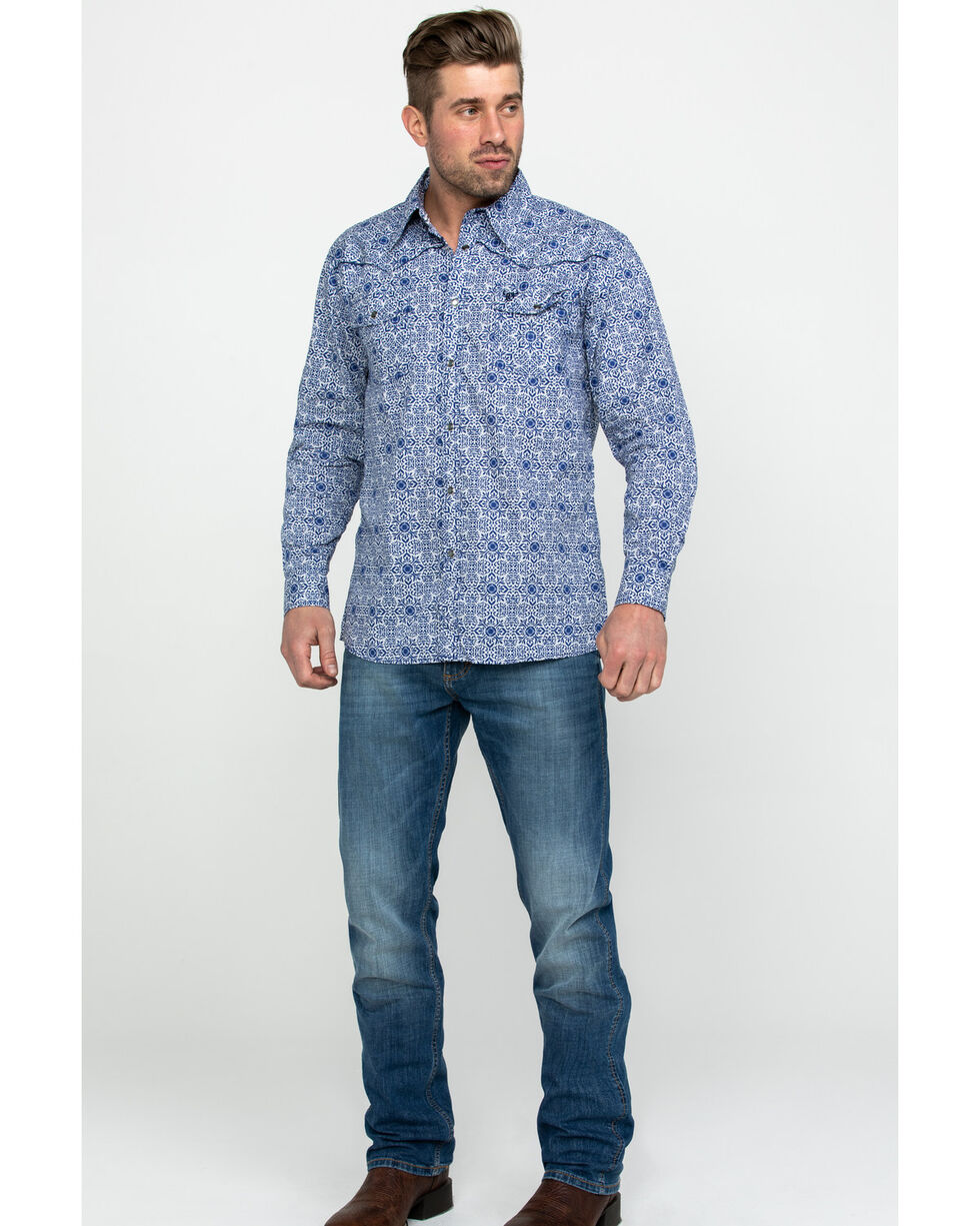 Cowboy Hardware Men's Navy Traditional Plaid Long Sleeve Western Shirt , Navy, hi-res