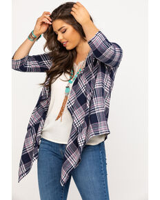 Derek Heart Women's Flannel Plaid Draped Cardigan, Multi, hi-res