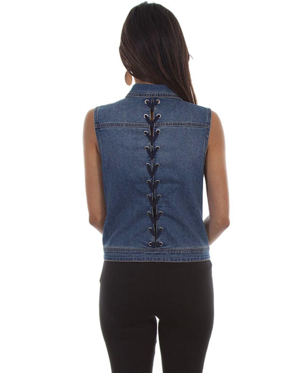 Honey Creek by Scully Women's Denim Lace Back Vest, , hi-res