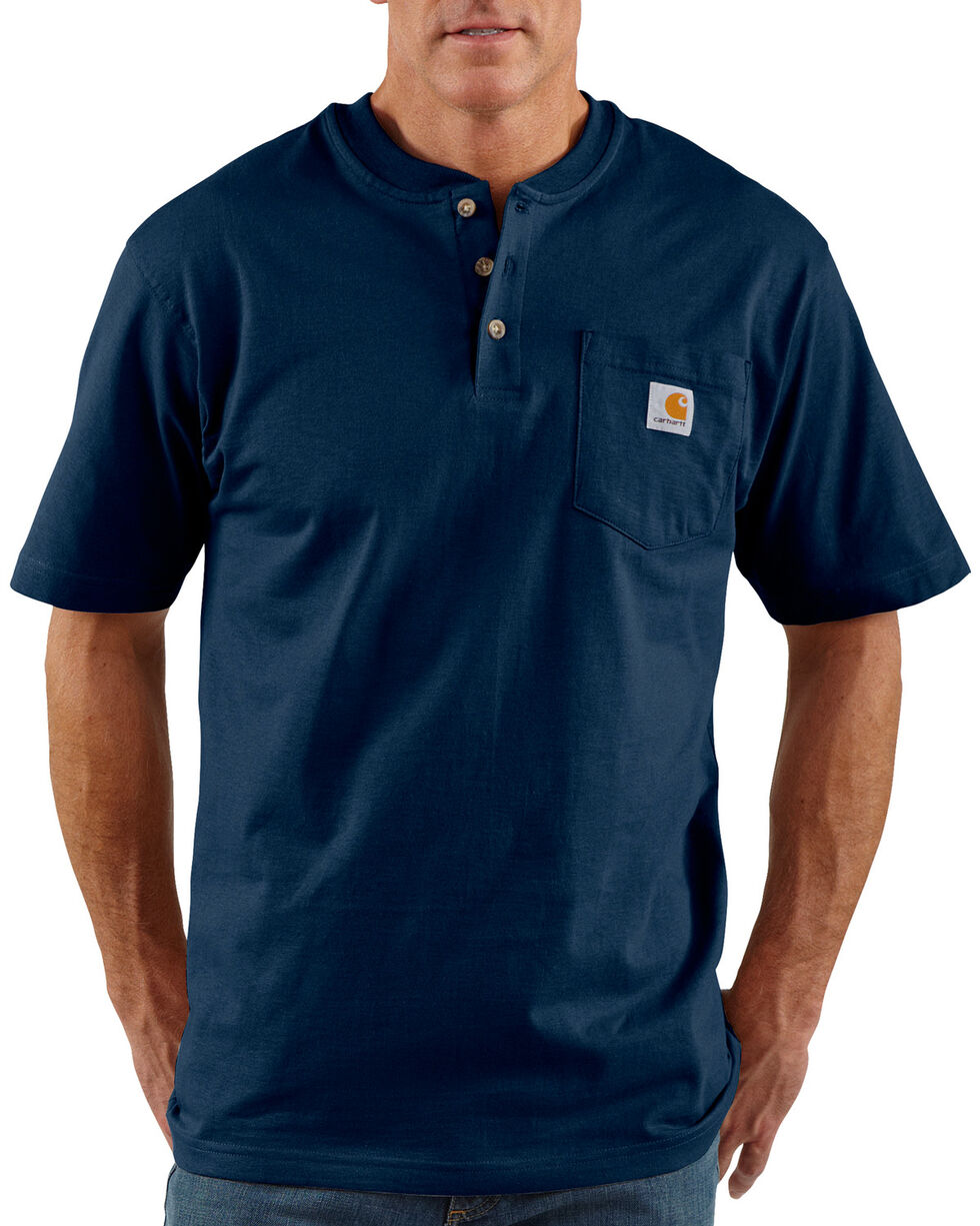Carhartt Short Sleeve Henley Work Shirt - Big & Tall, Navy, hi-res