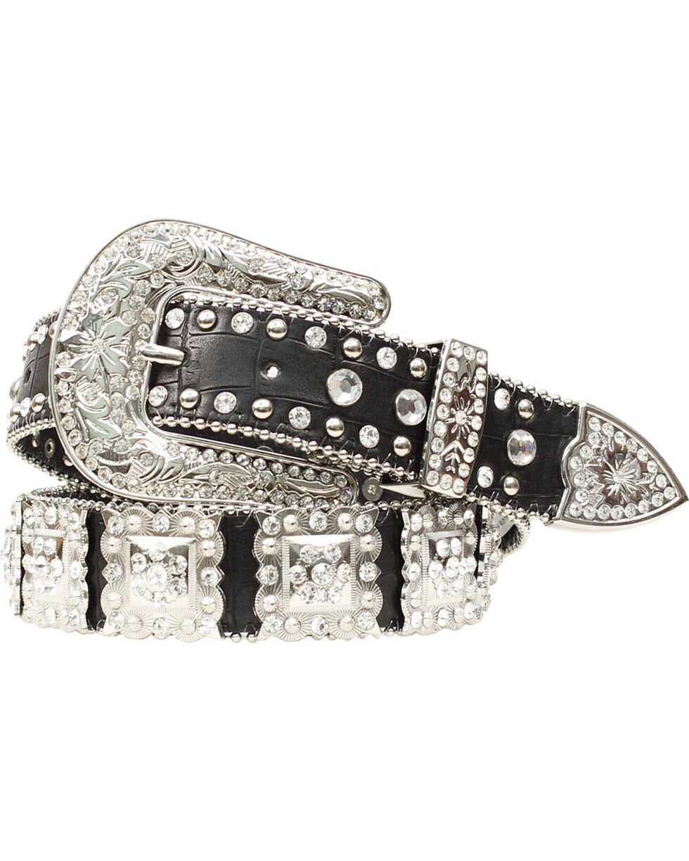 Nocona Studded Rhinestone Concho Leather Belt, Black, hi-res