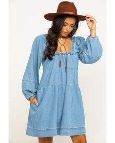 Free People Women's Denim Babydoll Dress, Blue, hi-res