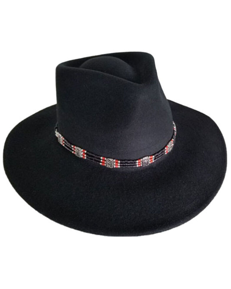Nikki Beach Women's Black Taos Wool Felt Rancher Western Hat , Black, hi-res