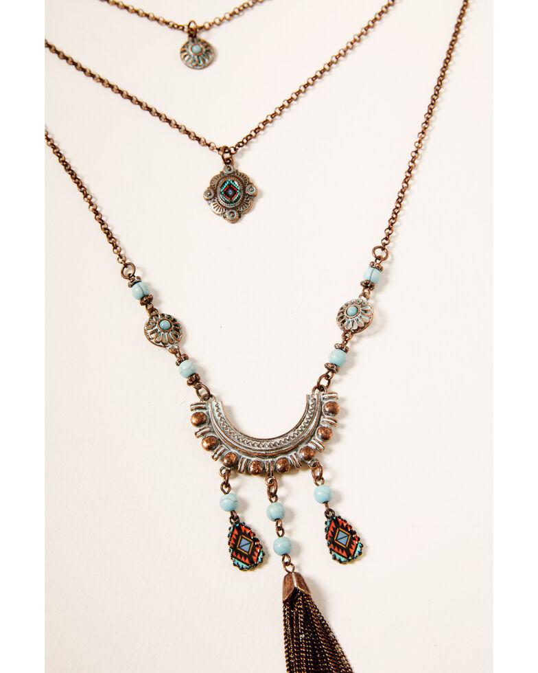Shyanne Women's Crescent Bronze Layered Necklace, Rust Copper, hi-res
