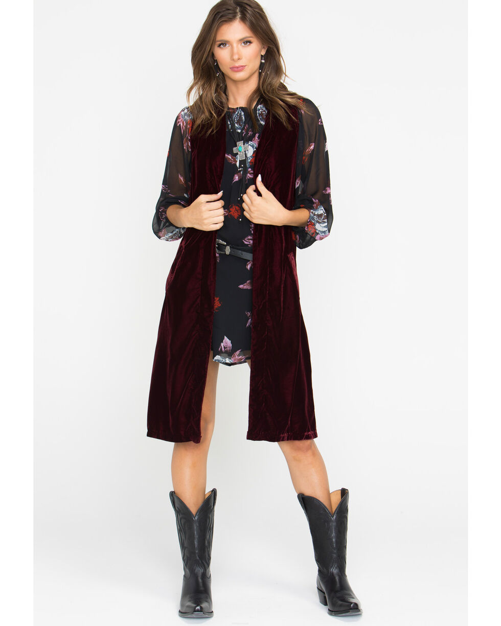 Shyanne Women's Burgundy Velvet Split Back Vest, , hi-res