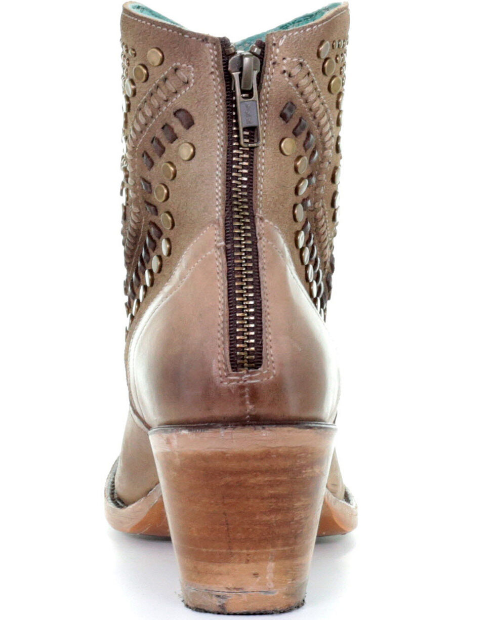 Corral Women's Brown Studs Fashion Booties - Round Toe, Brown, hi-res