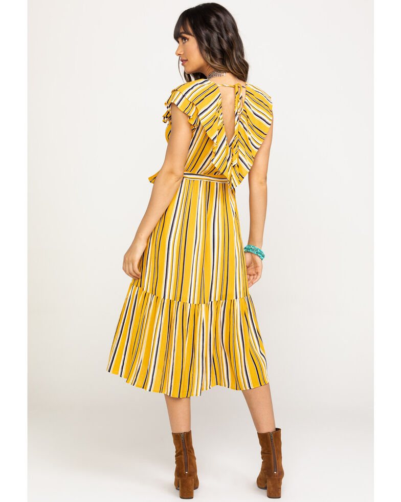 Flying Tomato Women's Mustard Stripe Surplice Dress, Dark Yellow, hi-res