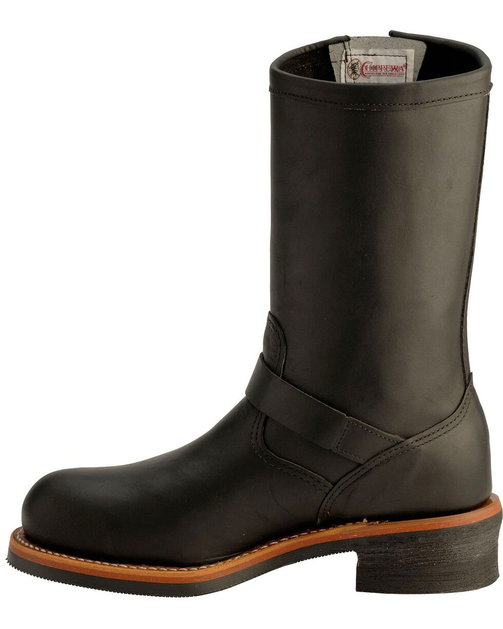 Chippewa Men's Engineer Steel Toe Motorcycle Boots, Black, hi-res