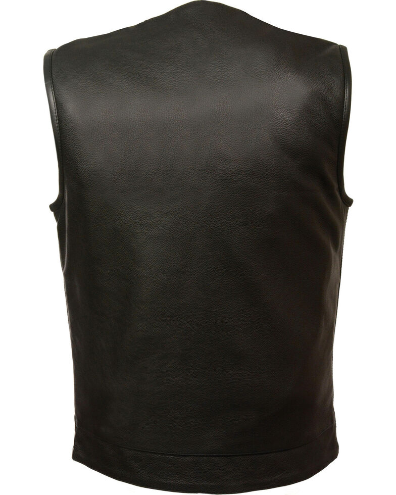 Milwaukee Leather Men's Black Collarless Club Style Vest - Big 5X, Black, hi-res