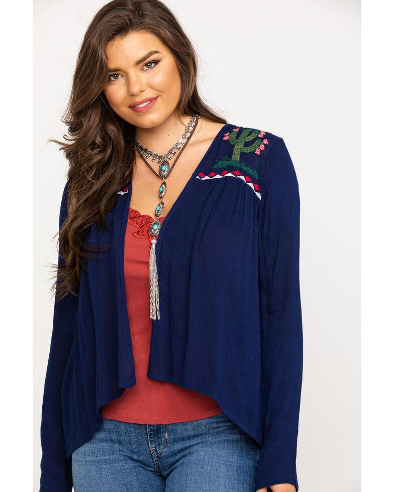 Roper Women's Blue Cactus Embroidered Cardigan, Blue, hi-res