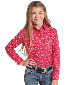 White Label by Panhandle Girls' Pink Heart Arrow Snap Long Sleeve Western Shirt, Pink, hi-res