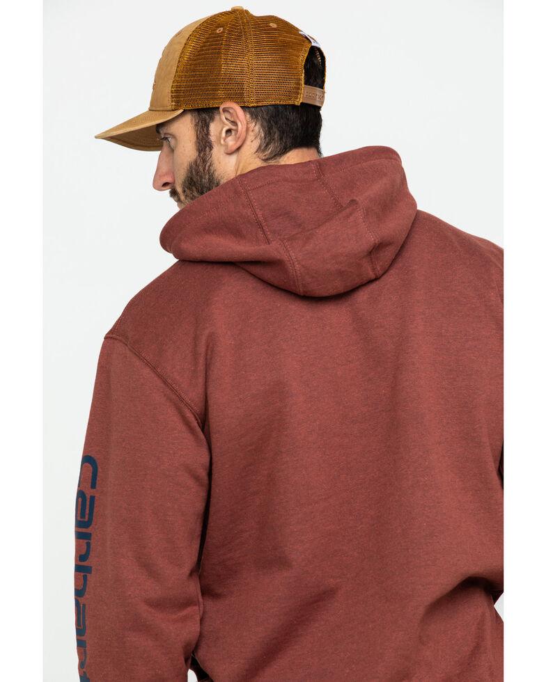 Carhartt Men's Mid Weight Hooded Logo Work Sweatshirt , Heather Red, hi-res