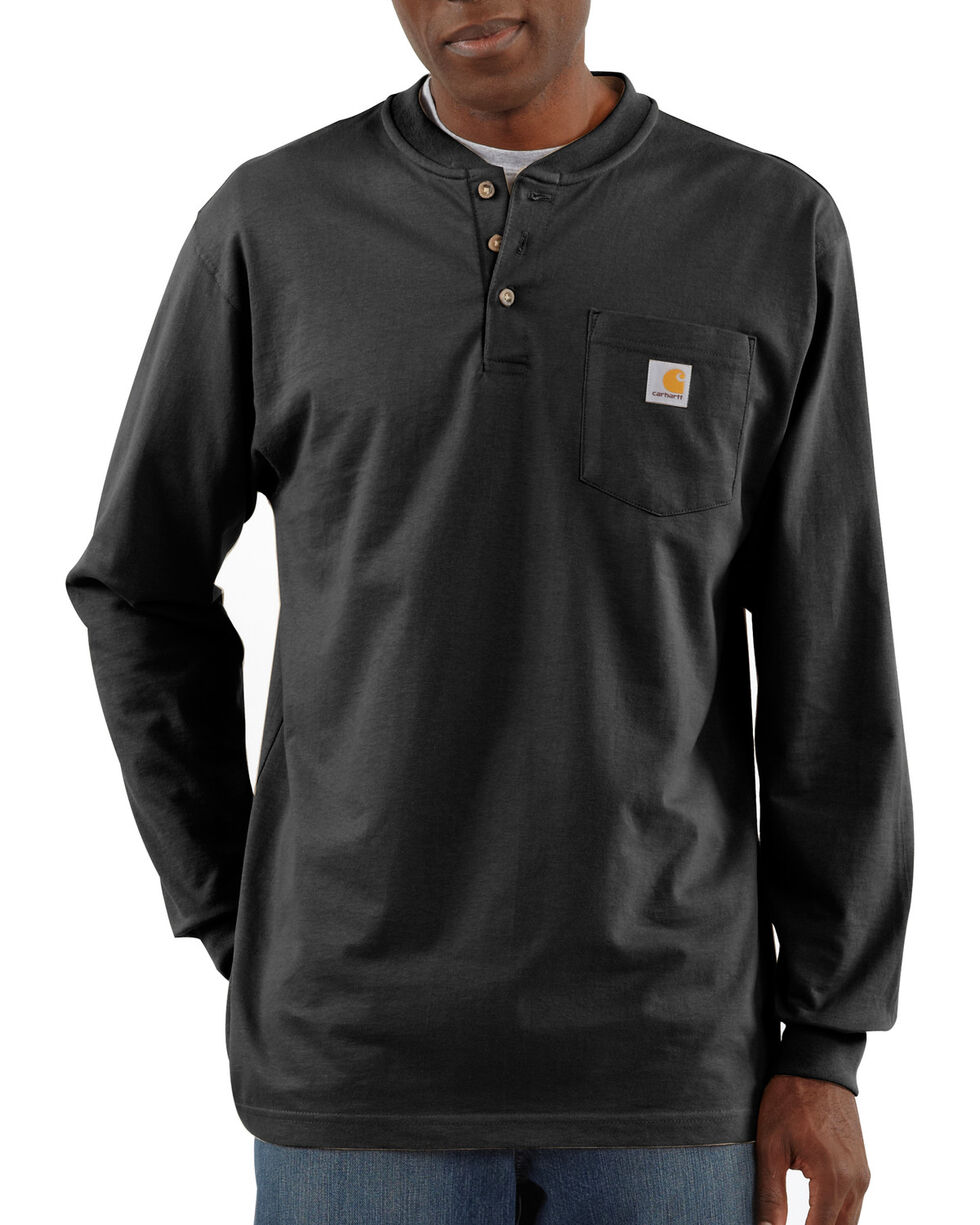 Carhartt Men's Workwear Henley Long Sleeve Shirt, Black, hi-res