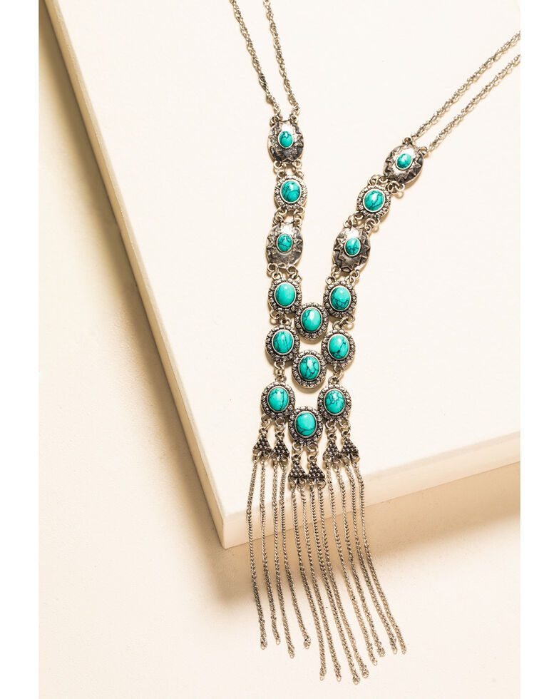 Shyanne Women's In The Oasis Turquoise Stone Drop Necklace, Silver, hi-res