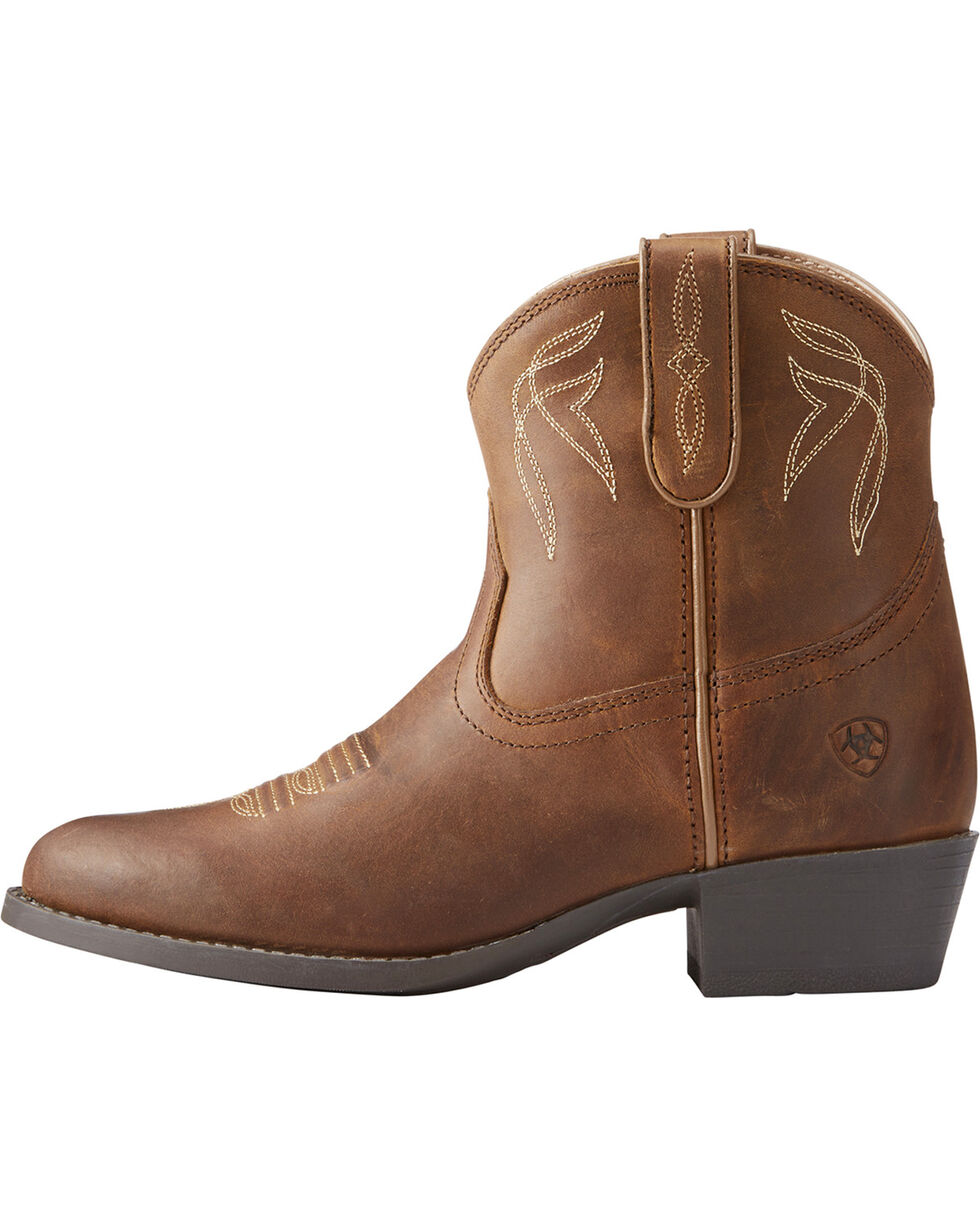 Ariat Girls' Brown Darlin Distressed Western Booties - Round Toe , Brown, hi-res