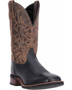 Laredo Men's Two Toned Embroidered Western Boots, Black, hi-res