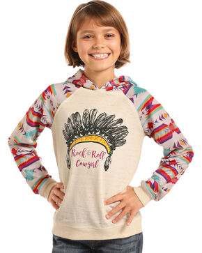 Rock & Roll Cowgirl Girls' Aztec Hoodie Sweatshirt, Natural, hi-res