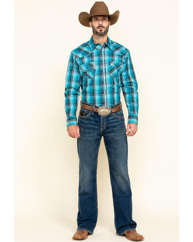Cinch Men's Modern Fit Blue Large Plaid Long Sleeve Western Shirt , Blue, hi-res