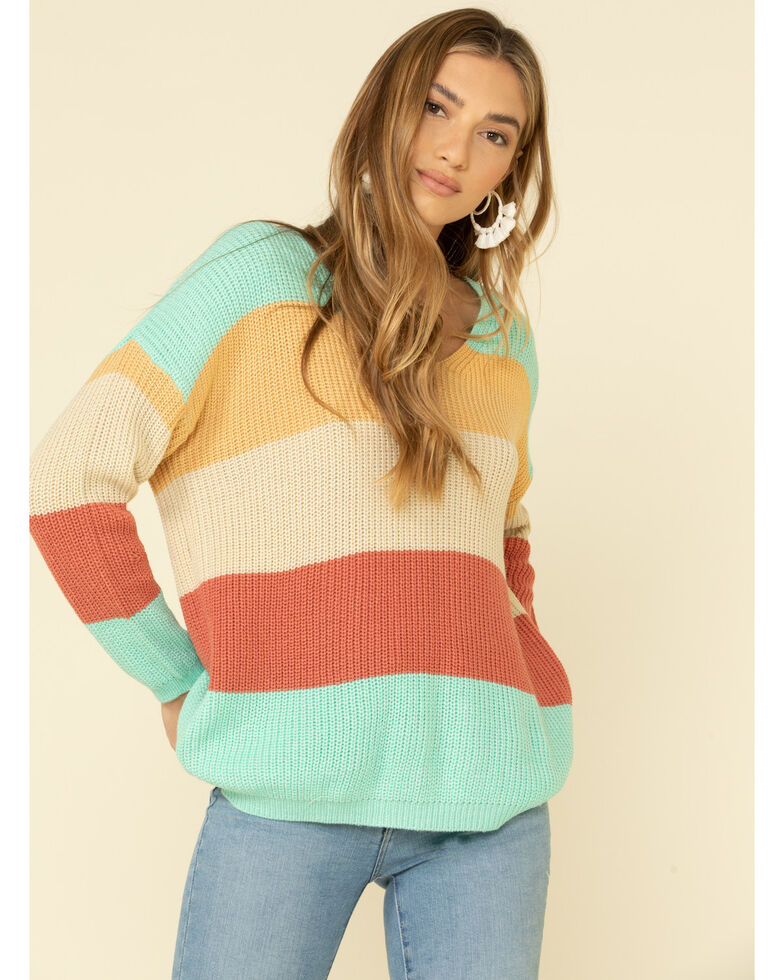 Rock & Roll Cowgirl Women's Pastel Color Block Lace Up Back Sweater  , Turquoise, hi-res