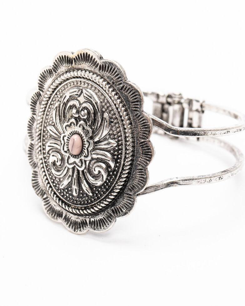 Shyanne Women's Moonlit Floral Concho Hinged Cuff Bracelet , Silver, hi-res