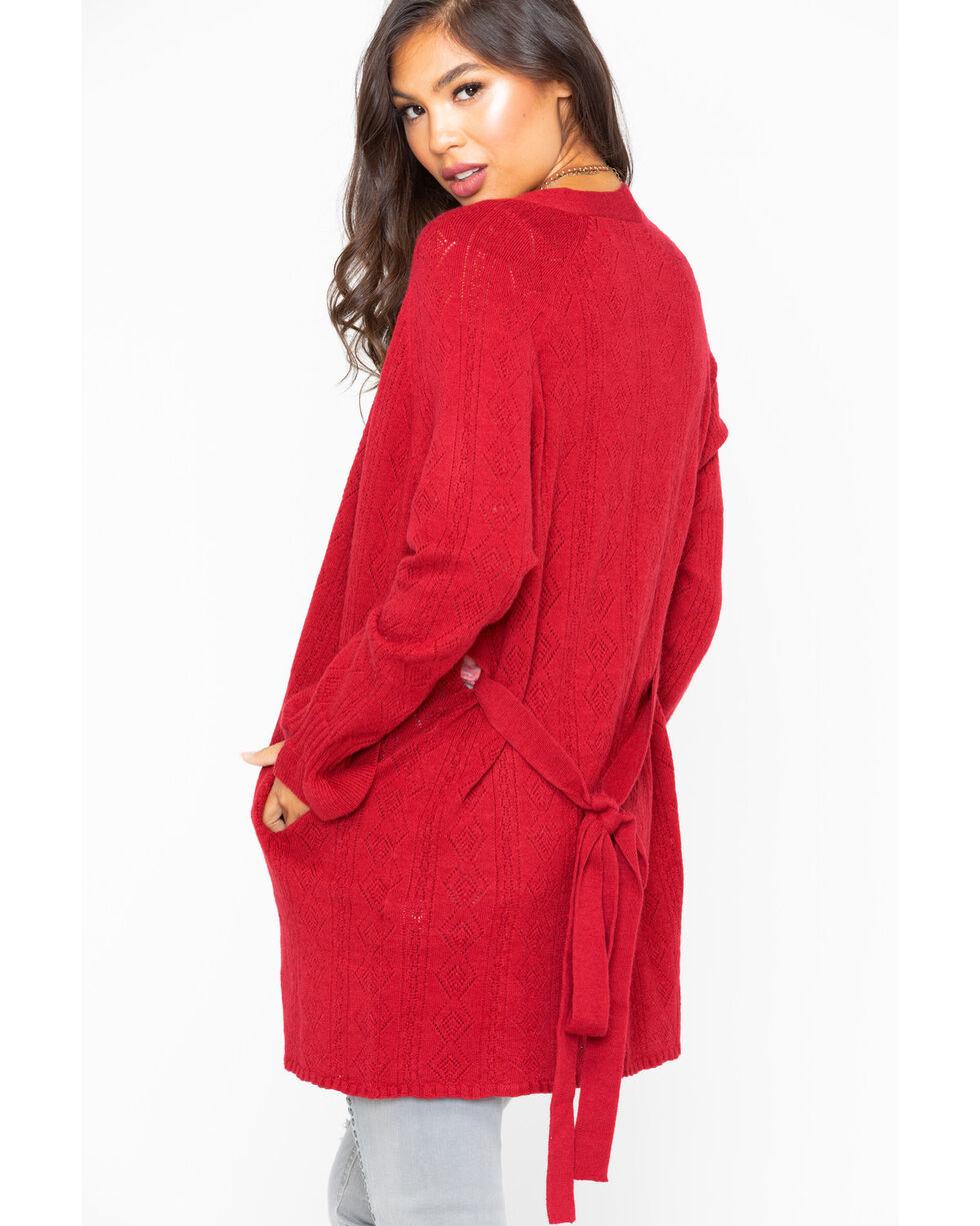 Miss Me Women's Pointelle Bell Sleeve Cardigan, Burgundy, hi-res