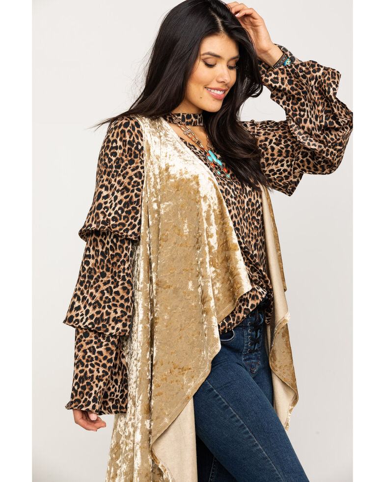 Rock & Roll Cowgirl Women's Gold Velvet Duster Vest, Dark Yellow, hi-res