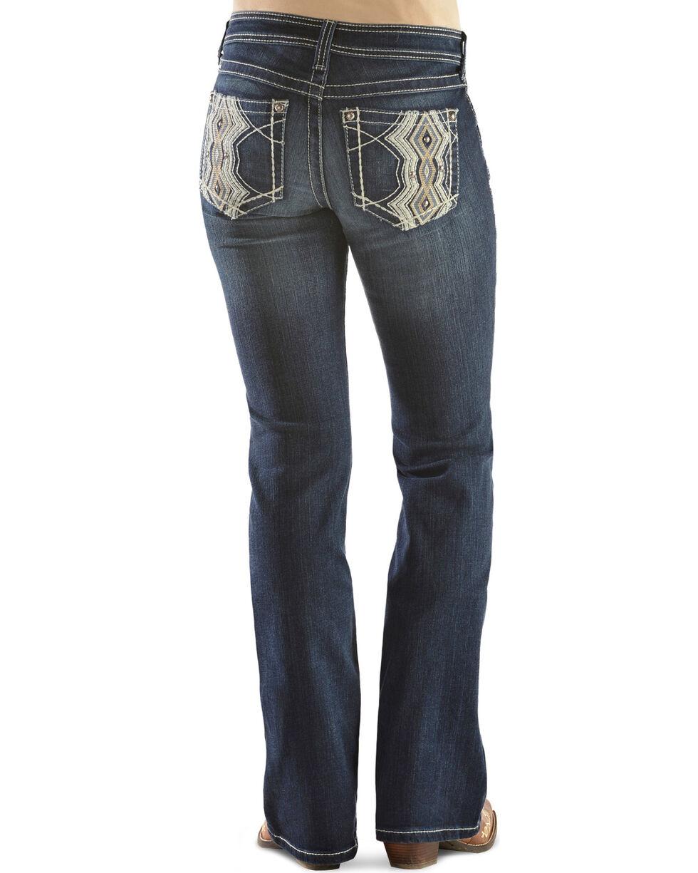 Ariat Women's Turquoise High Kicks White Bootcut Jeans, Denim, hi-res