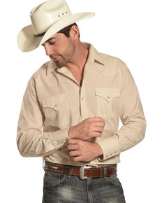 Ely Cattleman Men's Solid White Long Sleeve Western Shirt - Big & Tall , Khaki, hi-res