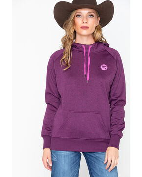 Hooey Women's Cactus Lined Hooded Sweatshirt, Violet, hi-res