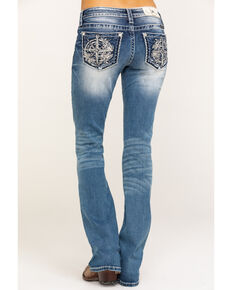 Miss Me Women's Light Wash Compass Bootcut Jeans, Blue, hi-res