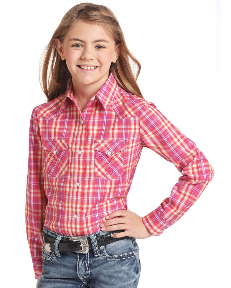 White Label by Panhandle Girls' Pink & Orange Plaid Long Sleeve Western Shirt, Pink, hi-res