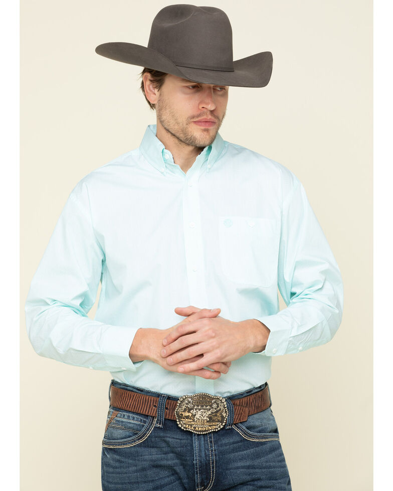 George Strait By Wrangler Men's Turquoise Small Geo Print Long Sleeve Western Shirt , Turquoise, hi-res