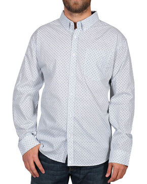 Cody James® Men's Pattern Long Sleeve Shirt, White, hi-res