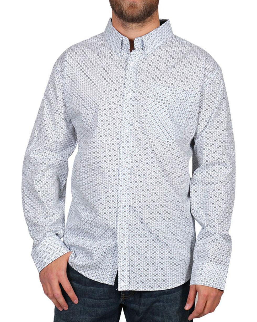 Cody James® Men's Pattern Long Sleeve Shirt, White, hi-res