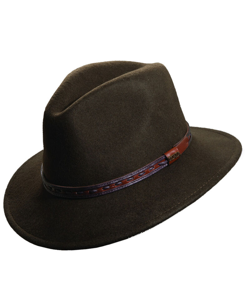 Scala Men's Olive Wool Felt with Leather Trim Safari Hat, Olive, hi-res