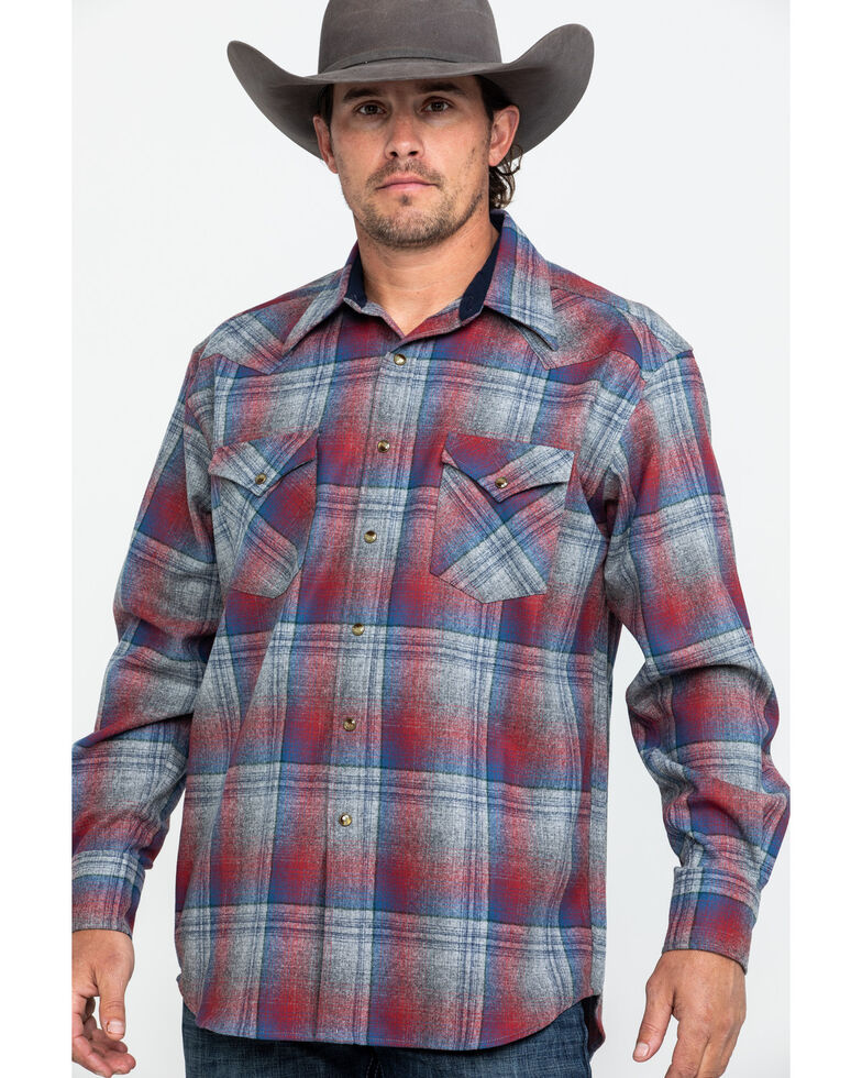 Pendleton Men's Multi Canyon Ombre Plaid Long Sleeve Western Flannel Shirt , Grey, hi-res