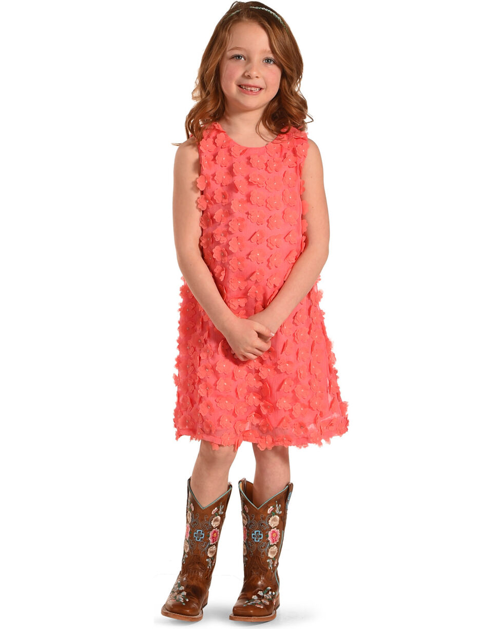 Idol Mind Girls' Floral Applique Dress, Coral, hi-res