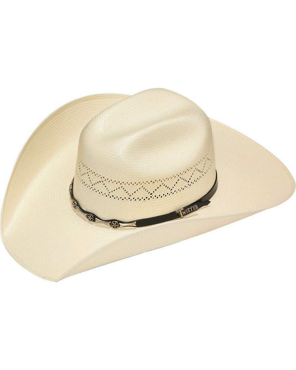 Twister 10X Shantung Star Concho Band Straw Cowboy Hat, Natural, hi-res